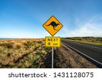 an iconic kangaroo road sign... | Shutterstock . vector #1431128075