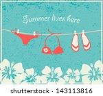 swimming suit and flip flops... | Shutterstock .eps vector #143113816
