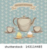 Tea Cup And Kettle Retro Card....