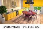 interior dining area. 3d... | Shutterstock . vector #1431183122