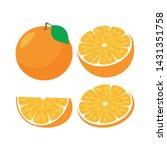 orange fruit slice. whole and... | Shutterstock .eps vector #1431351758