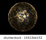 3d Render Of 3d Sphere Gold And ...