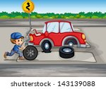 illustration of a boy repairing ... | Shutterstock .eps vector #143139088