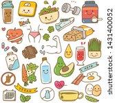 set of diet food kawaii doodle   Shutterstock . vector #1431400052