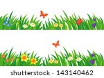 vector set of summer grass and...