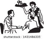 waitress serving couple   retro ... | Shutterstock .eps vector #1431486335