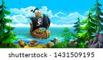 wooden ship with sails. pirates ... | Shutterstock .eps vector #1431509195