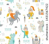 childish seamless pattern with... | Shutterstock .eps vector #1431567422