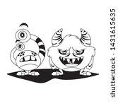 funny monsters couple comic... | Shutterstock .eps vector #1431615635