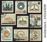 set of stamps from different... | Shutterstock .eps vector #143163058