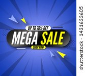 mega sale banner on blue... | Shutterstock .eps vector #1431633605