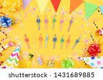 happy birthday candles with... | Shutterstock . vector #1431689885