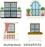 balcony vector vintage... | Shutterstock .eps vector #1431693152