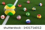 Big Soccer ball in Jamaica national colors surrounded by smaller soccer balls in other national colors. 3D Rendering