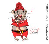 cartoon little mouse in a red...   Shutterstock .eps vector #1431723062