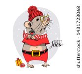 cartoon little mouse in a red... | Shutterstock .eps vector #1431723068