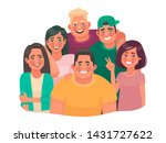 happy friends. a group of guys... | Shutterstock .eps vector #1431727622