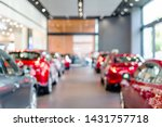 blur view of row new modern car in showroom - stock photo