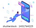 isometric concept unlimited... | Shutterstock .eps vector #1431764225