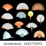 chinese fans. theatrical fans.... | Shutterstock .eps vector #1431773372