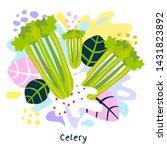 fresh green celery vegetable...   Shutterstock .eps vector #1431823892