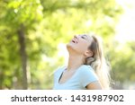 happy teenage girl laughing and ... | Shutterstock . vector #1431987902