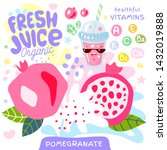 fresh juice organic glass cute... | Shutterstock .eps vector #1432019888