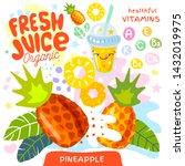 fresh juice organic glass cute... | Shutterstock .eps vector #1432019975