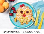 Waffle with fruits and berries...