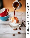 ice cream with coffee on wooden ... | Shutterstock . vector #1432053332