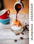 ice cream with coffee on wooden ... | Shutterstock . vector #1432053335