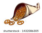 salted pretzels in packaging...   Shutterstock .eps vector #1432086305