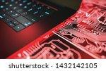 laptop computer and circuit... | Shutterstock . vector #1432142105