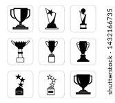 trophy black icon set. winner...
