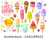 cute ice cream frozen juice ice ... | Shutterstock .eps vector #1432189622
