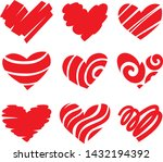 icon red heart flat style ... | Shutterstock .eps vector #1432194392