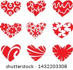 icon red heart flat style ... | Shutterstock .eps vector #1432203308