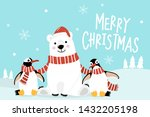 merry christmas greeting card... | Shutterstock .eps vector #1432205198
