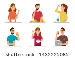 people eating healthy food and... | Shutterstock .eps vector #1432225085