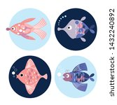set of fishes in round  sea... | Shutterstock .eps vector #1432240892