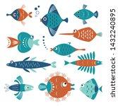 set of stylized decorative... | Shutterstock .eps vector #1432240895