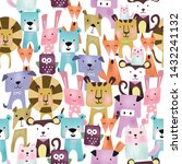 seamless pattern cute colorful  ... | Shutterstock .eps vector #1432241132