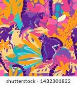 the wild lemurs sitting among...   Shutterstock .eps vector #1432301822