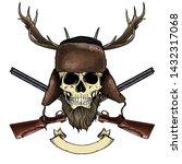 hand drawn sketch  color skull... | Shutterstock .eps vector #1432317068