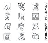 online education line icons.... | Shutterstock .eps vector #1432335968