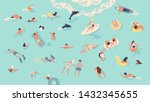 people in sea or ocean... | Shutterstock . vector #1432345655