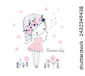 cute little cartoon girl white... | Shutterstock .eps vector #1432349438