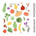 color fruits vegetables. onion...   Shutterstock .eps vector #1432364228
