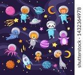Stock vector space animals cute baby animal panda cat lion giraffe monkey octopus penguin astronauts flying kid 1432364978