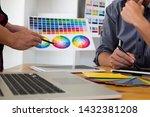 graphic designers present... | Shutterstock . vector #1432381208